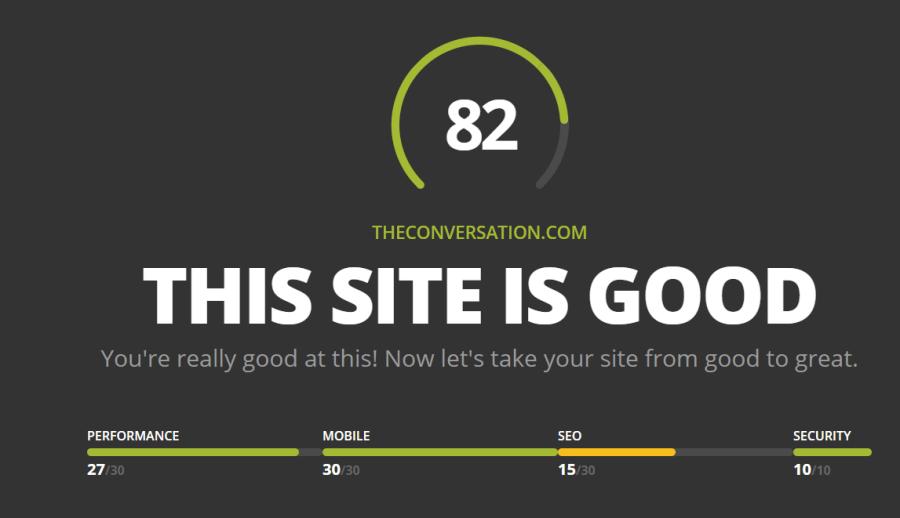 Cabecera y resultados de síntesis de Website grader