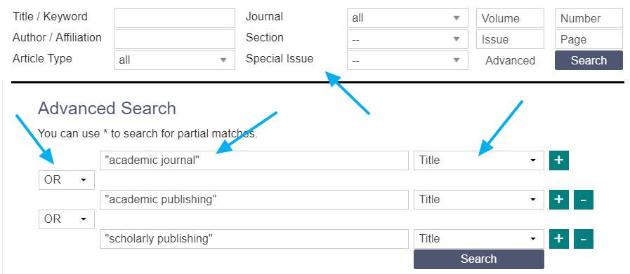 Formulario de búsqueda avanzada de MDPI