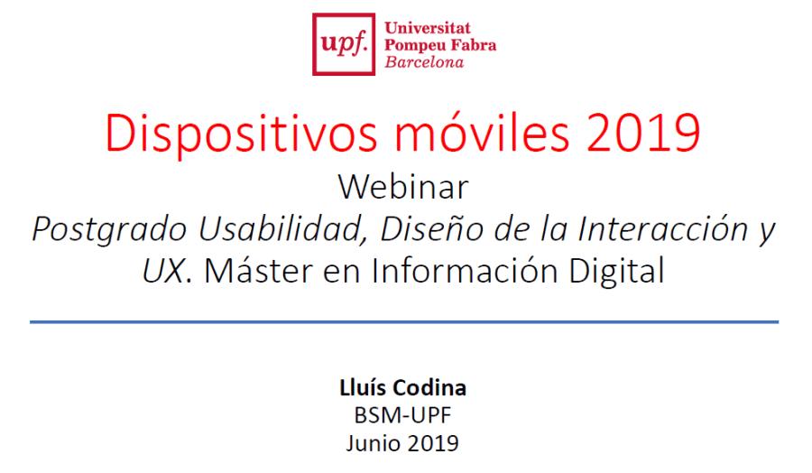 Cubierta presentación sobre dispositivos móviles 2019