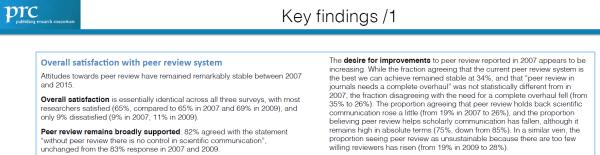 Key finding del informe sobre actitudes en la revisión por pares