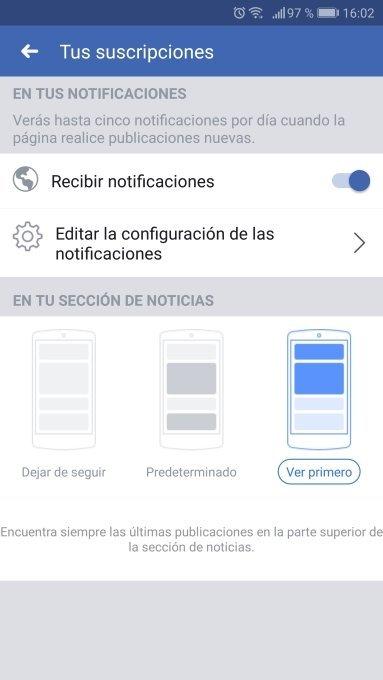 Configurar Ver primero en Facebook
