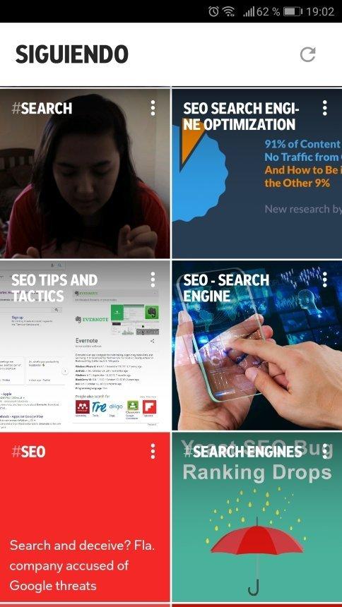 Página principal de la aplicación Flipboard para móviles