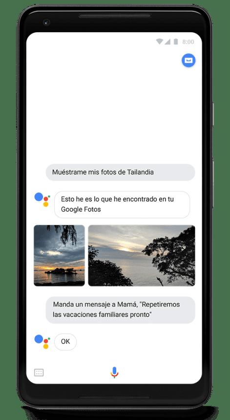 Un dispositivo de la web móvil con Google Assistant