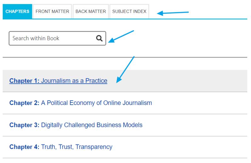 Secciones de contenido de un libro electrónico