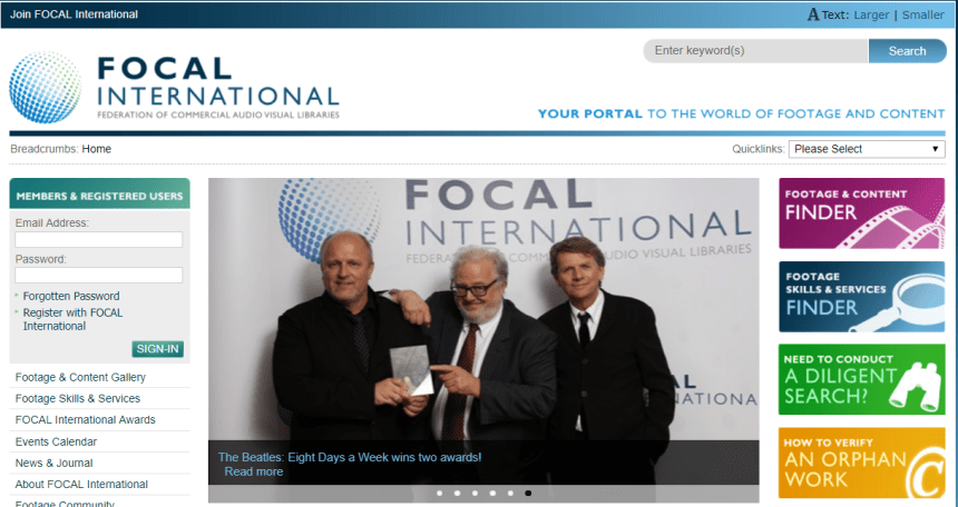 Sitio web Focal International
