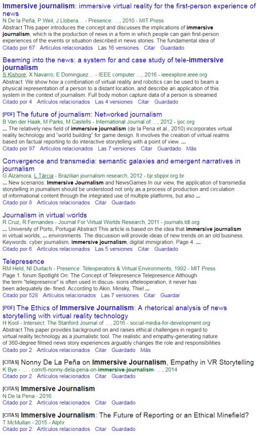 La primera página de resultados de Google Académico