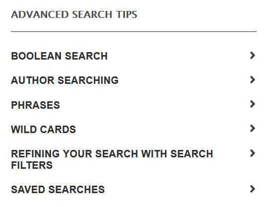 Enlaces a consejos de búsqueda en Emerald Insight