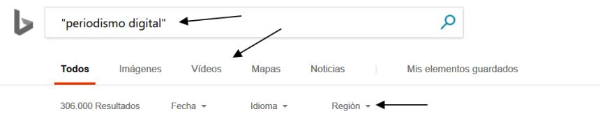 Opciones de la página de resultados de Bing