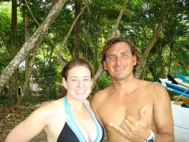 beginners surfing in Costa Rica