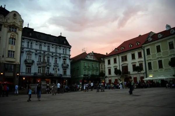 Dusk falls on Bratislava's Main Square