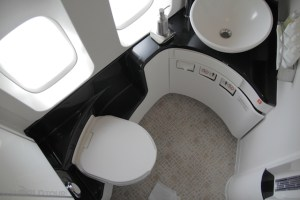 Bathroom in 1st Class on Cathay Pacific