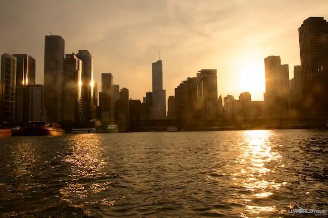 Sunset on Chicago River