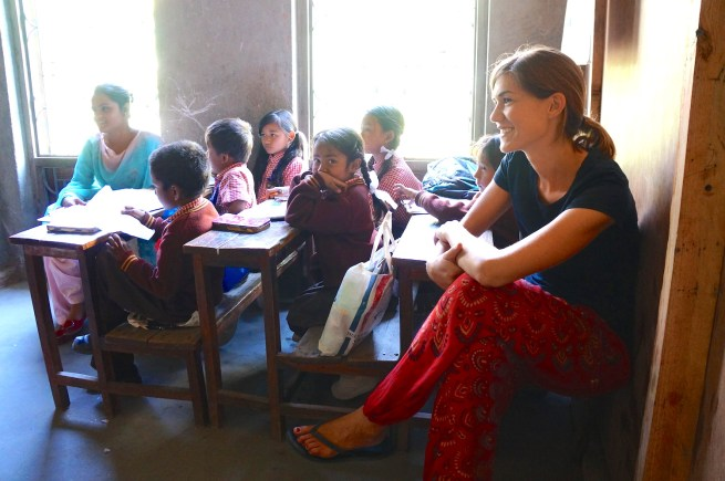 Kat in the classroom in Nepal