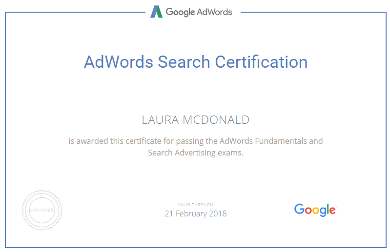 Adwords Search Certification
