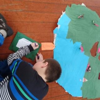 Dessin de l'îlot avec les objets collés dessus