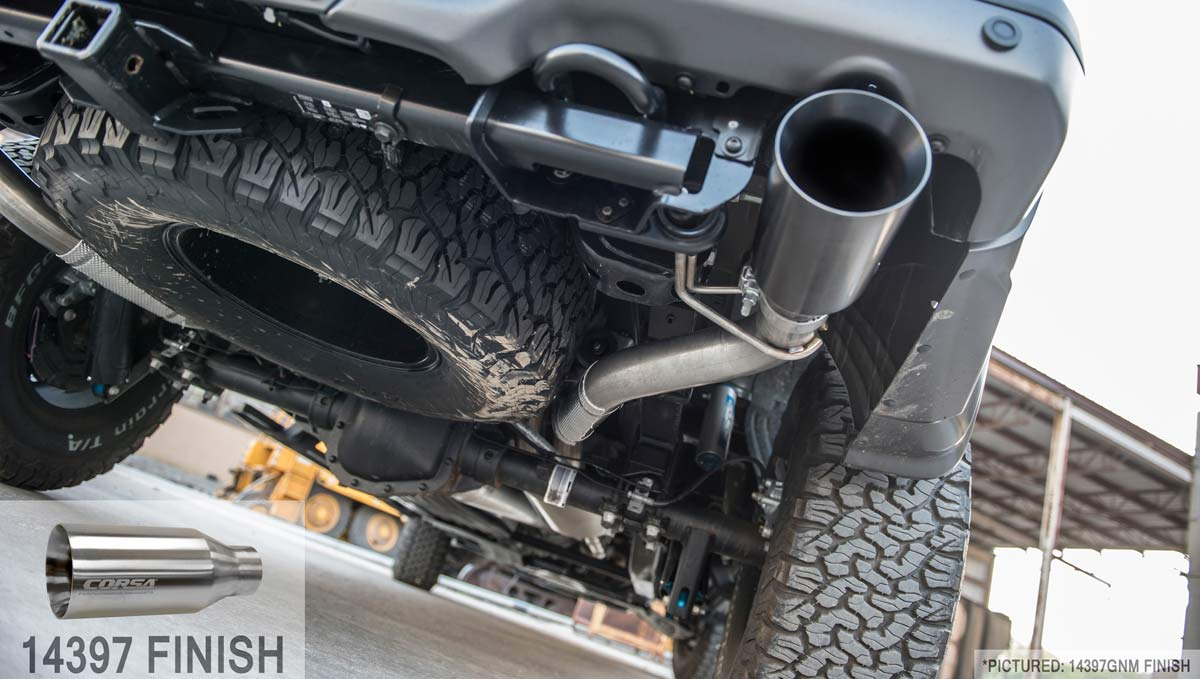 corsa performance 14397 corsa ford raptor exhaust sport system super cab super crew 3 5l v6 turbo 5 inch polished tips 2017 2019