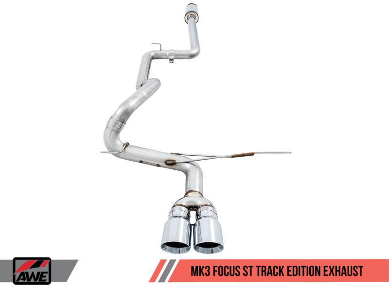 awe tuning 3020 32034 ford focus st 2 0l turbo track edition cat back exhaust chrome silver tips 2013 2017
