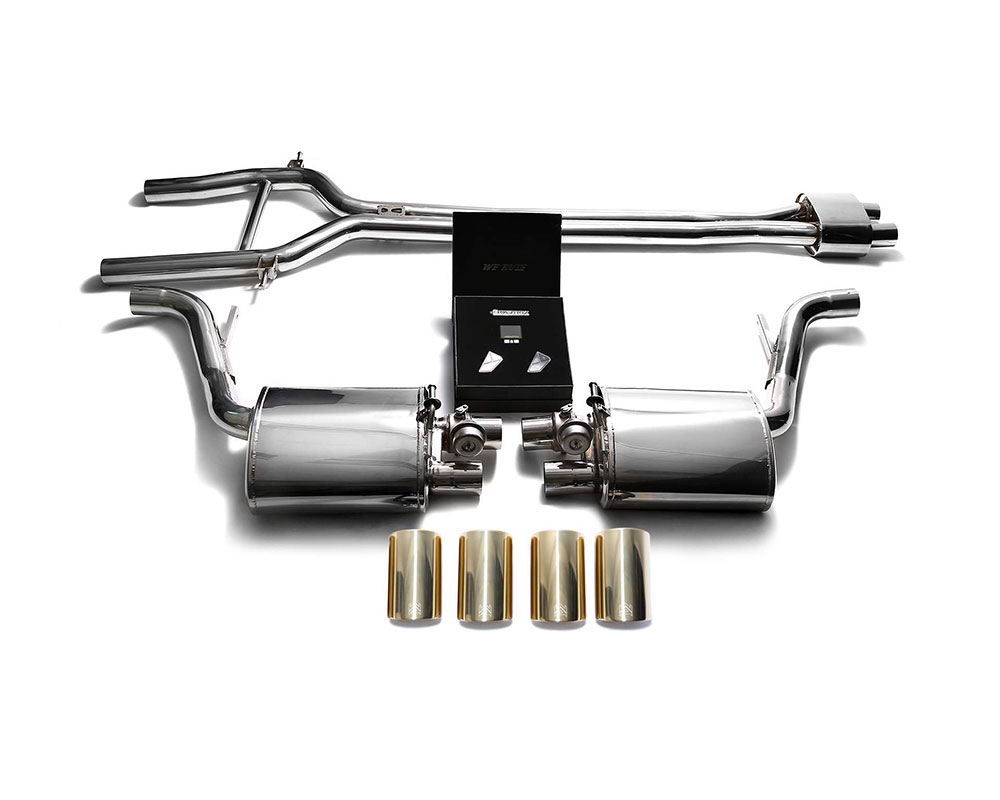 armytrix p70n1 qs11g armytrix stainless steel valvetronic exhaust system porsche 970 panamera with quad gold tips 2010 2013