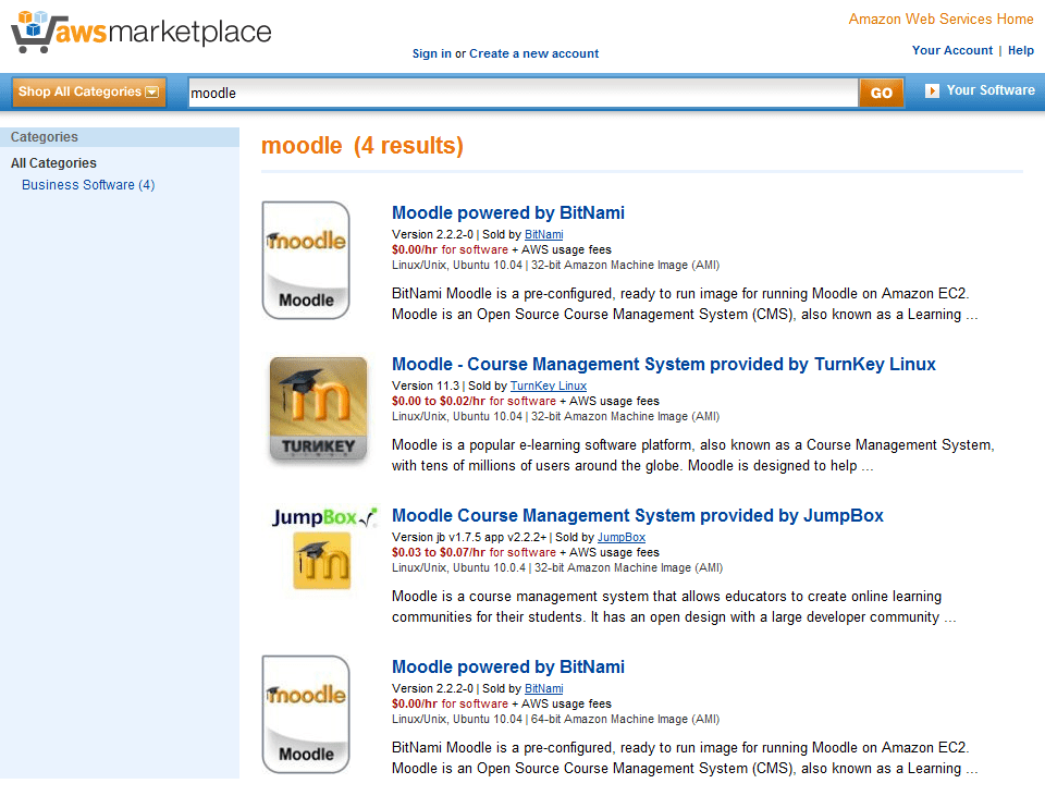4 options for Moodle hosting on Amazon Web Services Marketplace