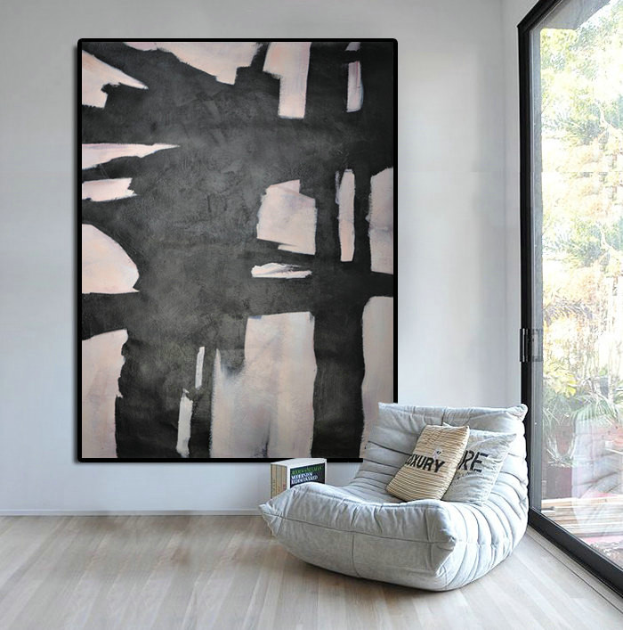 Extra Large Abstract Painting Horizontal Acrylic Painting Large Wall Art Black White And Pink Painting Original Art Pt328 199 00 Handmade Large Abstract Painting On Canvas