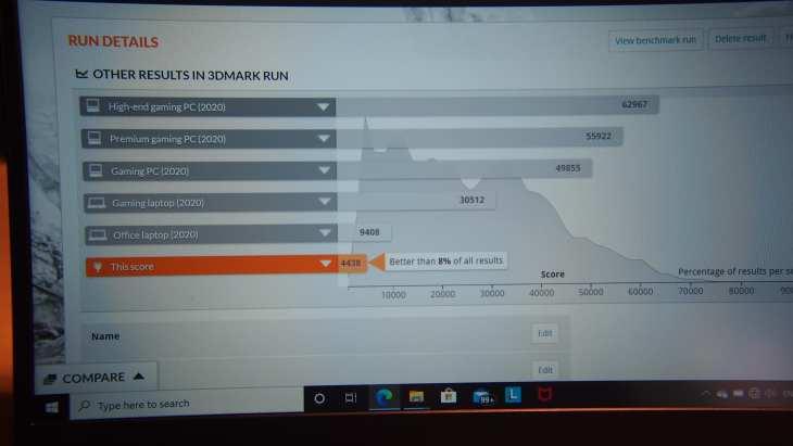 תוצאות ביצועים במבחן 3DMark ל-ThinkBook 13S