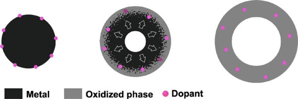 Figura 1. Descrição do mecanismo de dopagem induzido pela oxidação. Uma NP metálica (Fe, em preto) com íons dopantes (Mo, em roxo) adsorvidos na superfície (à esquerda). Estágio inicial da oxidação de NP metálico indicando a captura de íons dopantes dentro da camada oxidada (no meio); NP oca dopada após a oxidação completa (à direita).