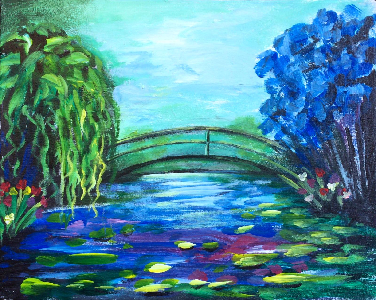 Monet's Garden | The Loaded Brush - Paint & Sip Classes | www.loadedbrushpdx.com