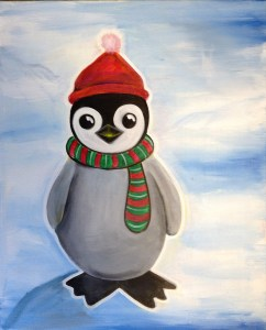 Just the Cutest Lil' Penguin Ever | The Loaded Brush Paint & Sip Classes | loadedbrushpdx.com