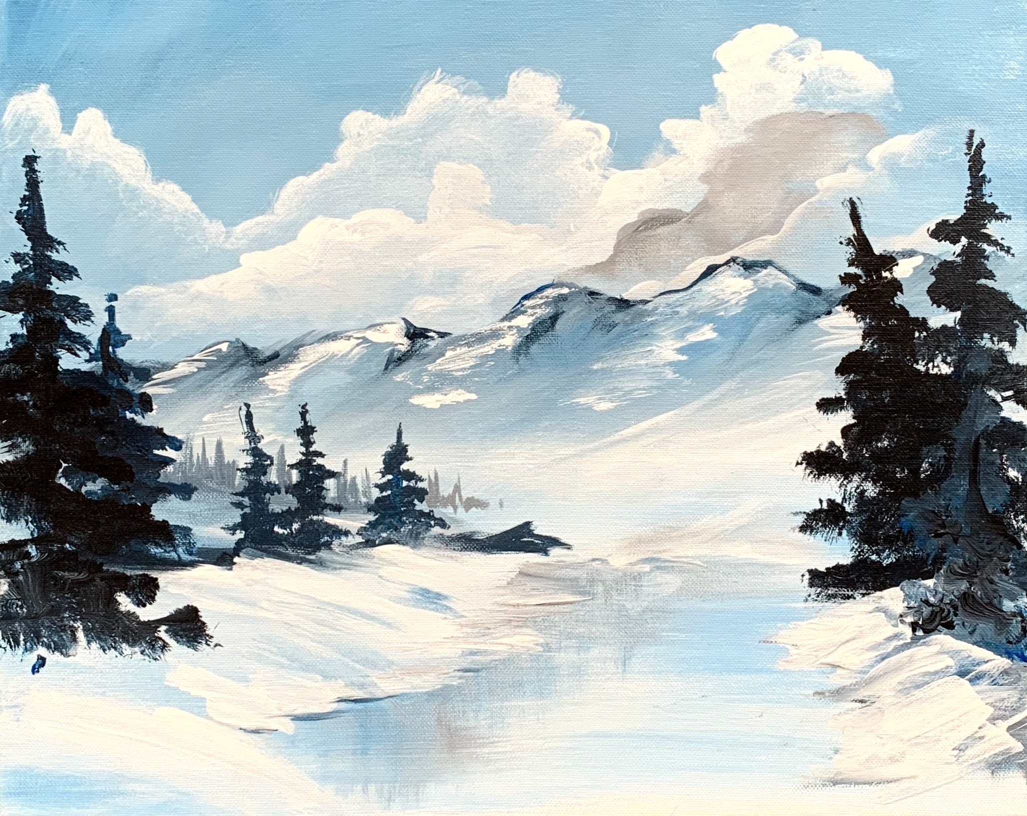 Mountains of Ice & Rivers| The Loaded Brush Paint & Sip Classes | loadedbrushpdx.com
