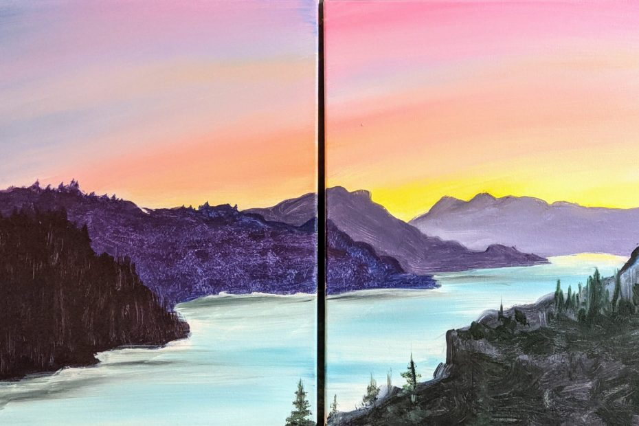 Date Night ~ Gorge-ous View for Two | The Loaded Brush Paint & Sip Classes | loadedbrushpdx.com