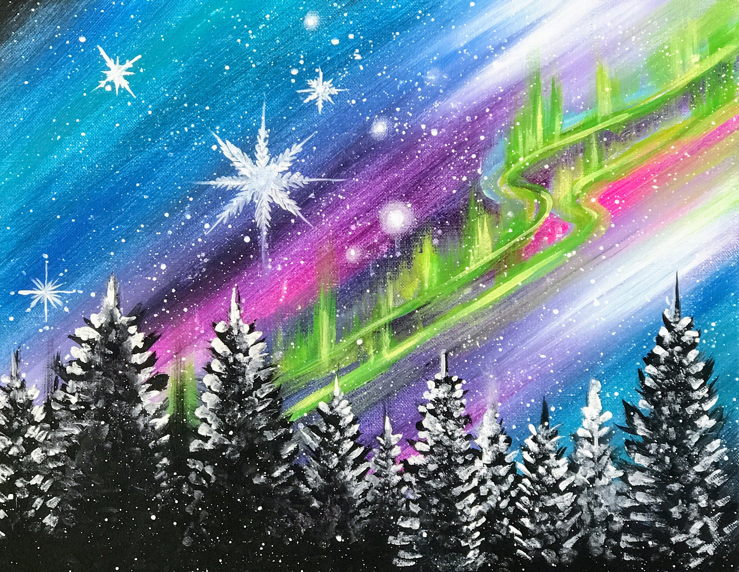 Northern Lights | The Loaded Brush Paint & Sip Classes | loadedbrushpdx.com