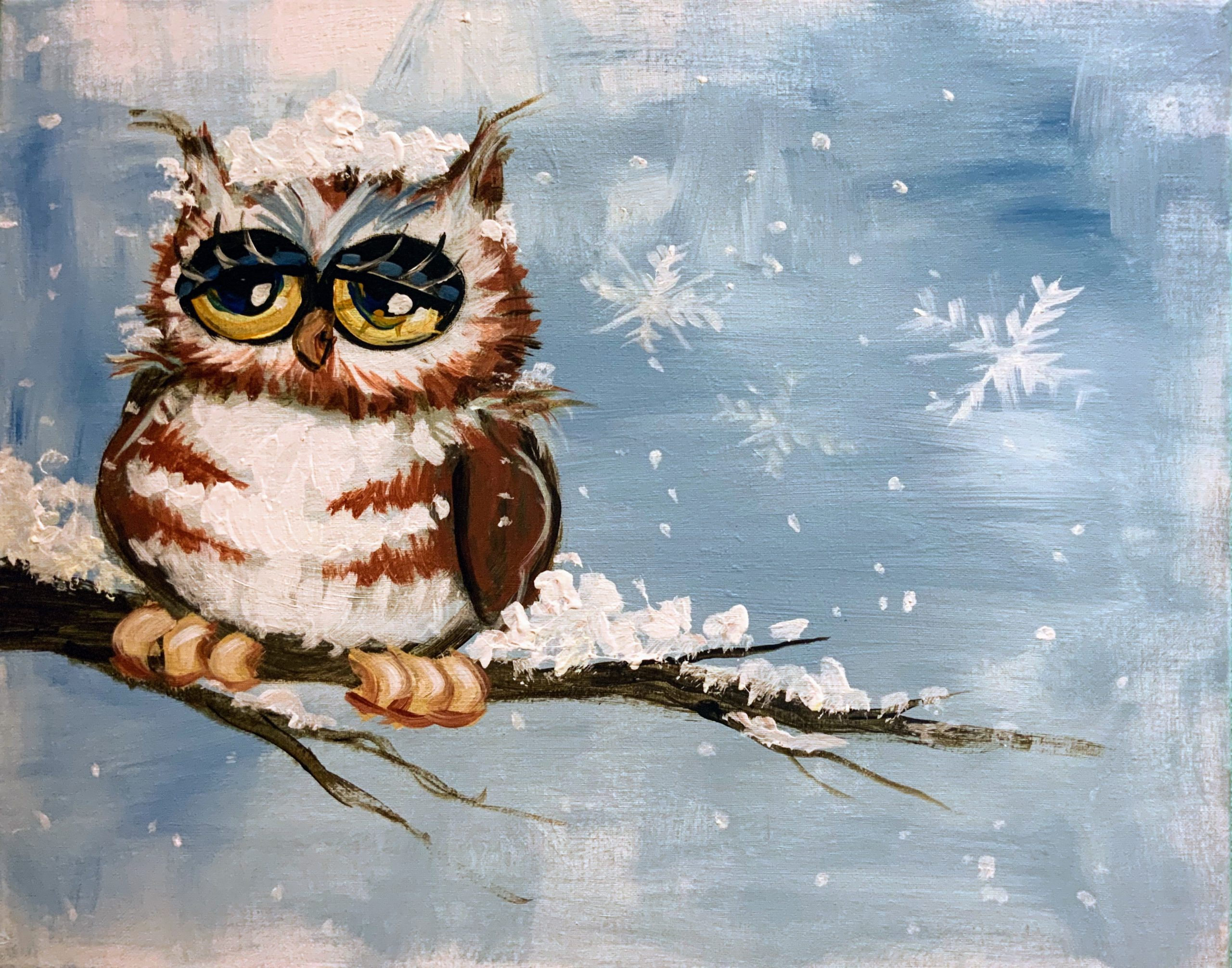 Snowy Owl | The Loaded Brush Paint & Sip Classes | loadedbrushpdx.com