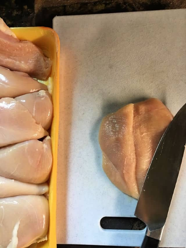 chicken breast butterflied with knife