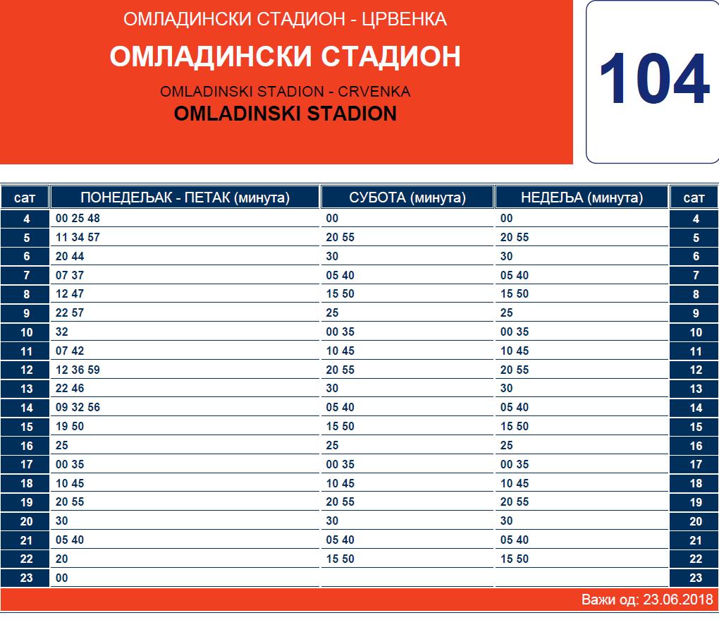 Letnji red vožnje linije 104 Crvenka – Omladinski stadion