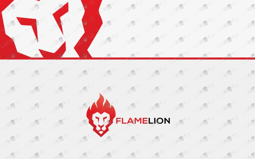 flame lion head logo lion logo