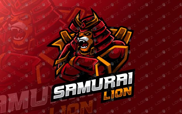 samurai lion mascot logo samurai lion esports logo