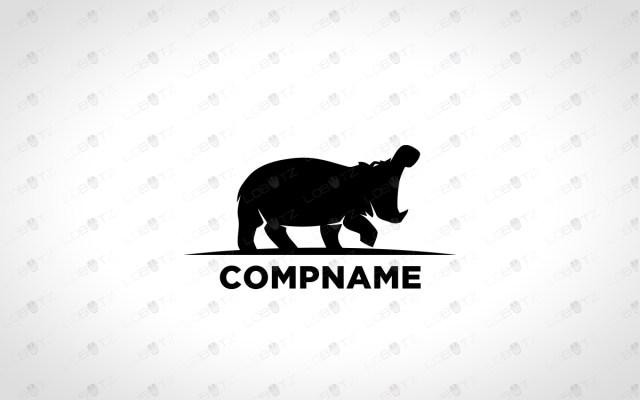 premade hippo logo for sale