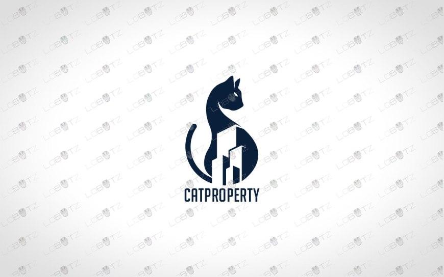 Modern Cat Logo For Sale | Minimalist Cat Logo cat estate property logo estate agent
