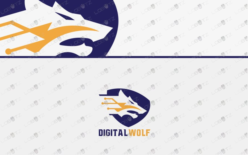Digital Wolf Logo | Premade Data Wolf Logo For Sale