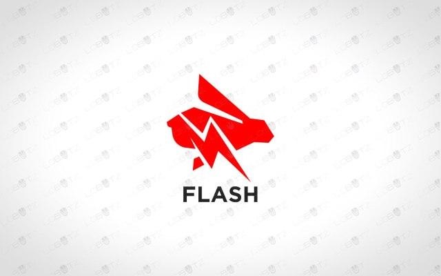 Fast Rabbit Logo For Sale Premade Speedy Rabbit Logo lightning rabbit logo