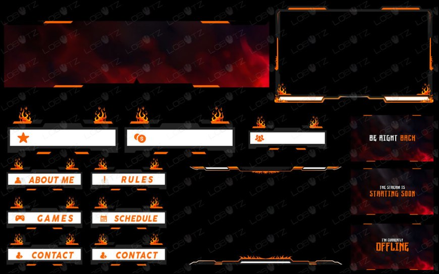 Flaming Fire Twitch Overlay Stream Package