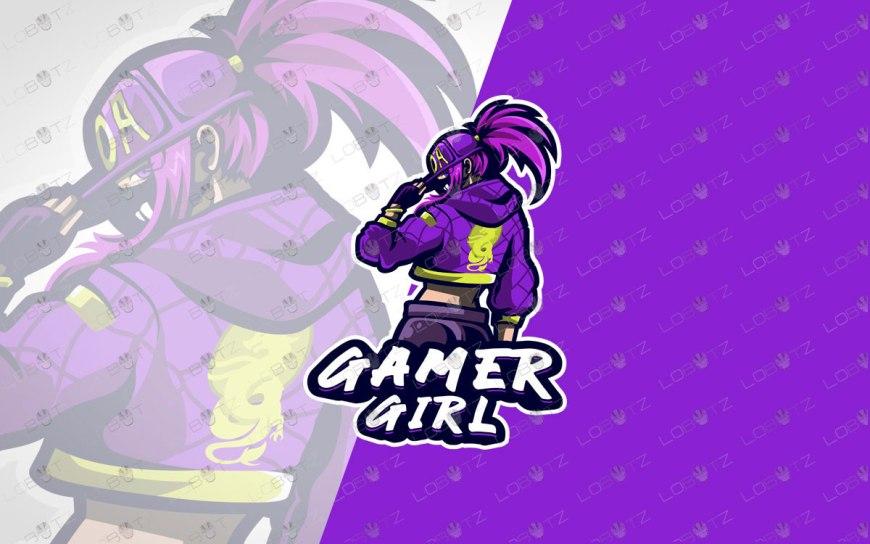 Girl Gamer Mascot Logo For Sale | Gamer Girl Mascot Logo