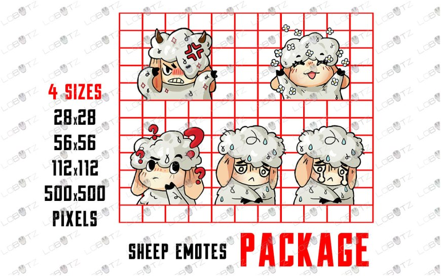 Cute Sheep Emotes | Cute Sheep Sub Badges For Twitch & Stream sheep twitch emotes
