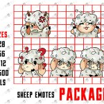 Cute Sheep Emotes | Cute Sheep Sub Badges For Twitch & Stream