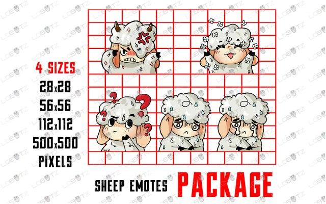 Cute Sheep Emotes | Cute Sheep Sub Badges For Twitch & Stream sheep twitch emotes