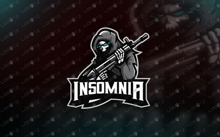 Grim Reaper With Gun Logo | Reaper Mascot Logo For Sale