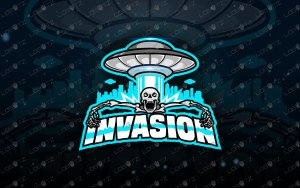 Alien Invasion Alien Mascot Logo   Skull Mascot Logo For Sale