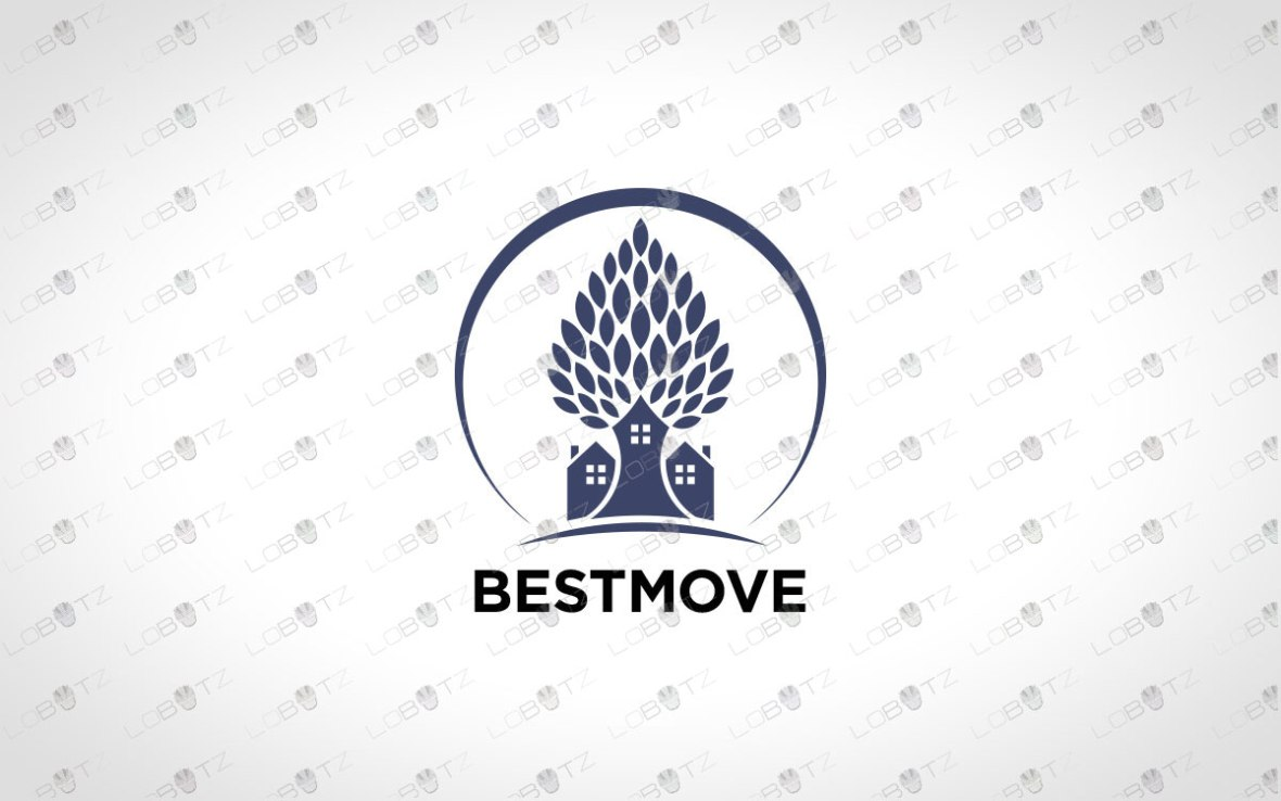 Modern Premade House Tree Logo For Sale