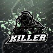 Assassin With Guns Logo | Ninja Mascot Logo For Sale