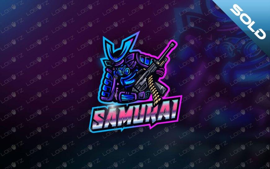 Retro Cyberpunk Samurai Mascot Logo For Sale